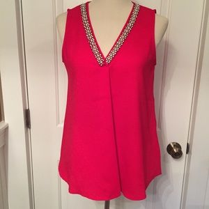 ADRIENNE VITTADINI TOP RED EMBELLISHED V-NECK S